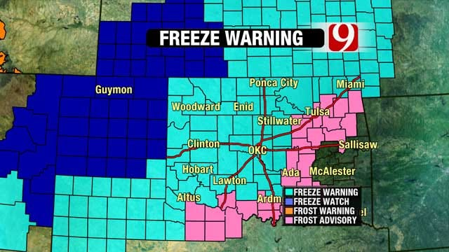 Freeze Warnings Issued For Much Of Oklahoma Tuesday Night