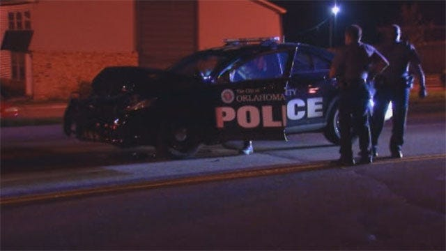 OKC Police: Suspect Deliberately Slams Truck Into Patrol Car