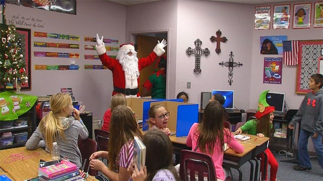 Santa Visits Students From Briarwood, Plaza Towers Elementary Schools
