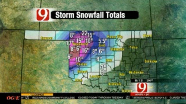 Winter Storm Dumps As Much As 22 Inches Of Snow In Oklahoma