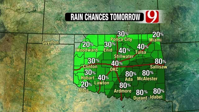 News 9 Weather Team: Rain, Thunderstorm Chances Go Up In OK Wednesday