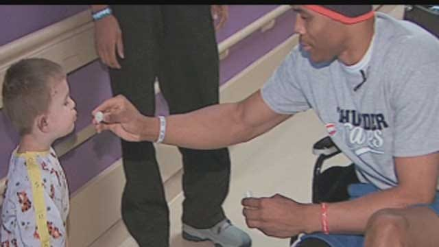 OKC Thunder Coach, Players Visit Tornado Victims At OU Children's Hospital
