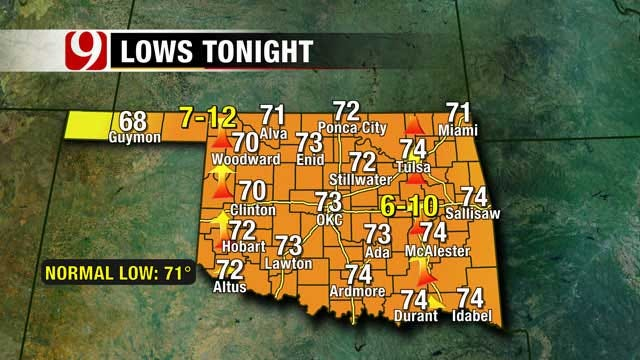 Above Average Temperatures Remain For Much Of Oklahoma