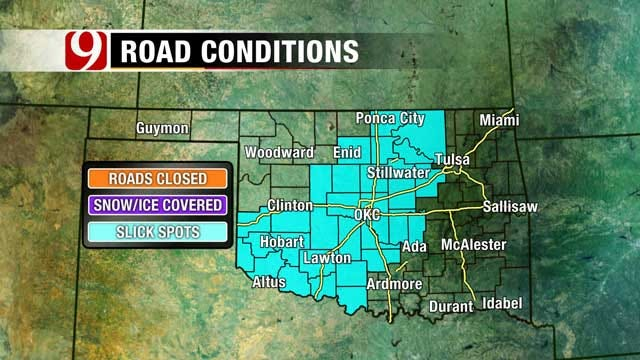Central Oklahoma Residents Wake Up To Wintry Mix