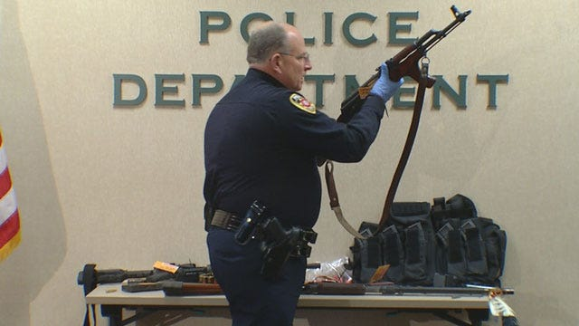 Several Weapons Discovered In Car Following Mustang Police Chase