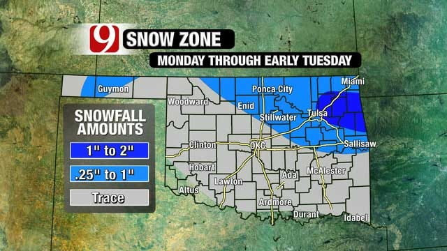 Light Winter Mix Expected Monday Through Early Tuesday