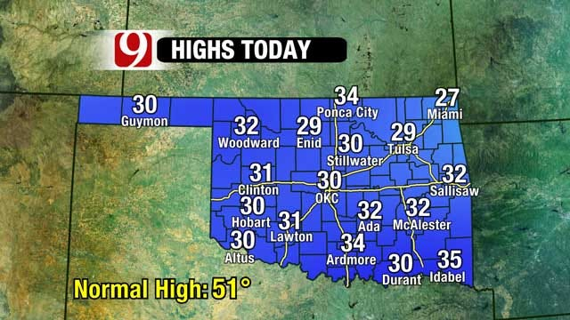 Morning Snow, Afternoon Sun But Still Cold Across Oklahoma