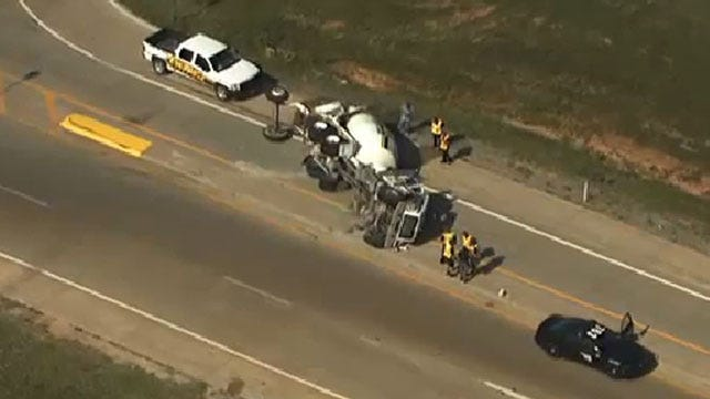 Cement Truck Rolls Over In West OKC