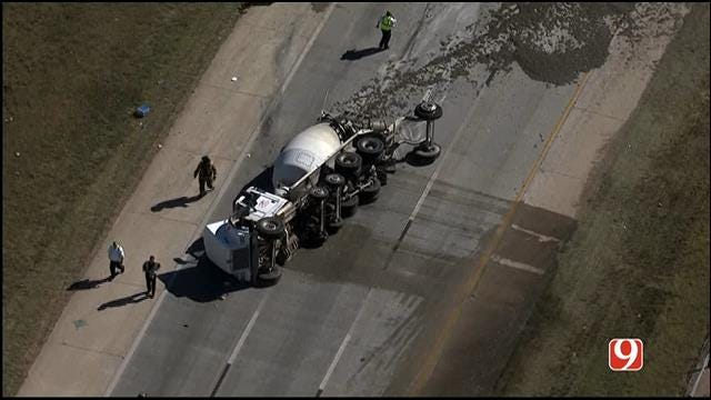 Crews Respond To Overturned Cement Truck On Hefner Parkway