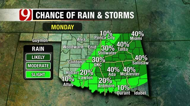 Heat Continues Sunday, Cold Front Brings Rain Chances Monday