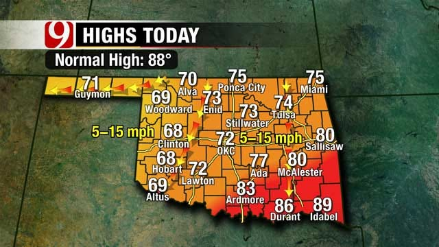 Cloudy Skies, Cooler Temperatures Across Oklahoma Saturday