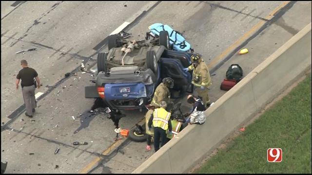 Crews Respond To Rollover Crash On I-40 Near I-44 Junction