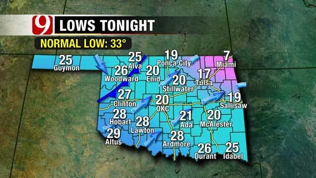 Slush Refreezes Overnight, Weak Cold Front Arrives Tuesday In Oklahoma