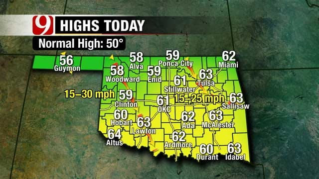 Oklahoma Temperatures Stay In The 60's