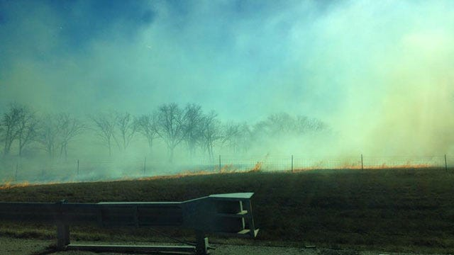 Crews Respond To Grass Fire At I-40 Near McLoud Road