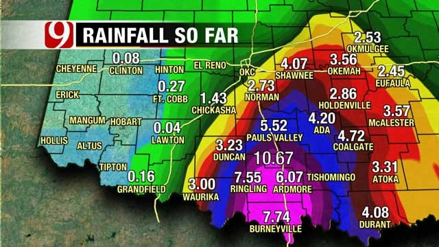 Flash Flood Watch Continues As Tropical Depression Bill Moves Through OKC Metro
