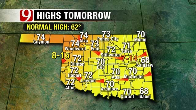 Sunny Skies And 70 Degrees Wednesday In Oklahoma