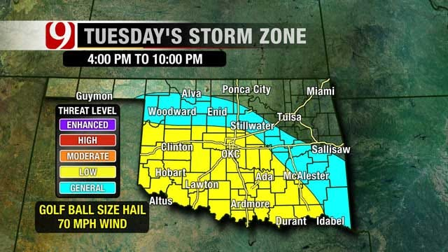Low Threat Of Storms Over SW And Central Oklahoma