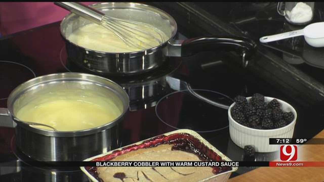 MIO: Blackberry Cobbler with Warm Custard Sauce