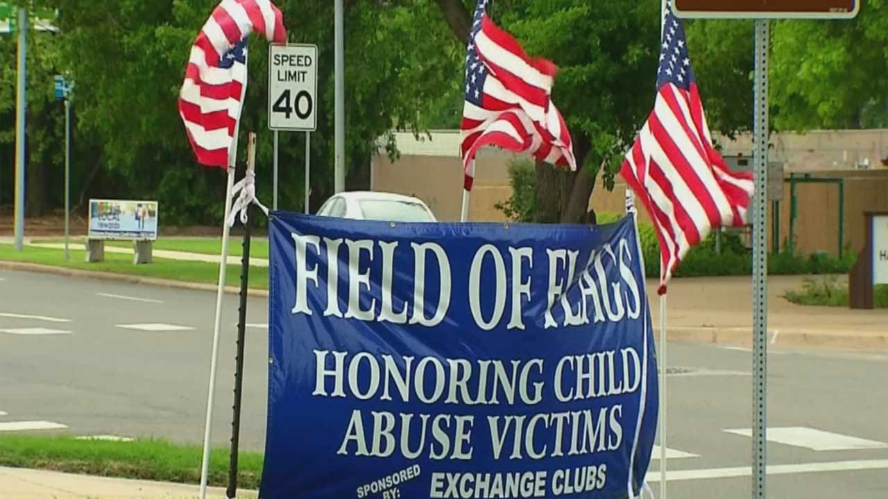 Flags Honor Victims Of Child Abuse At State Capitol