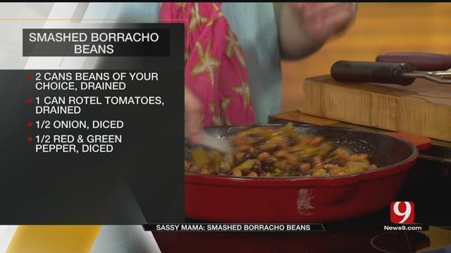 Smashed Borracho Beans