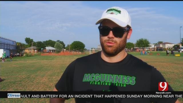 WATCH: OU's Gabe Ikard & Blake Bell Host Football Camp at Bishop McGuinness