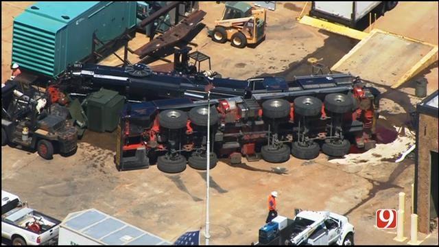 Crane Collapse In West OKC Spills Fluids Into Storm Drain