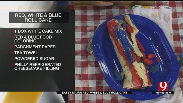 Red, White And Blue Roll Cake