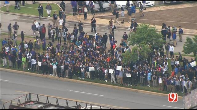 OKC Students Walk Out Of Class To Protest Against Budget Cuts