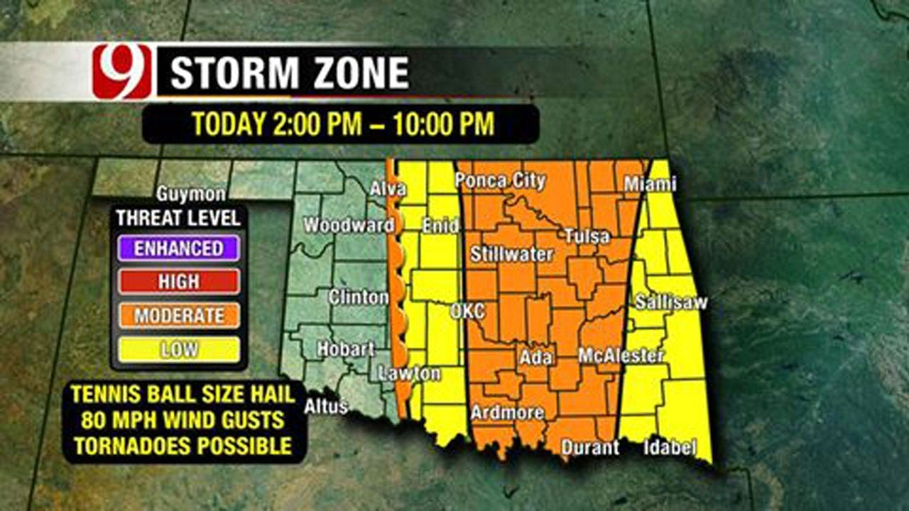 Storms Could Bring Hail, High Winds, Tornadoes To OK Monday Afternoon