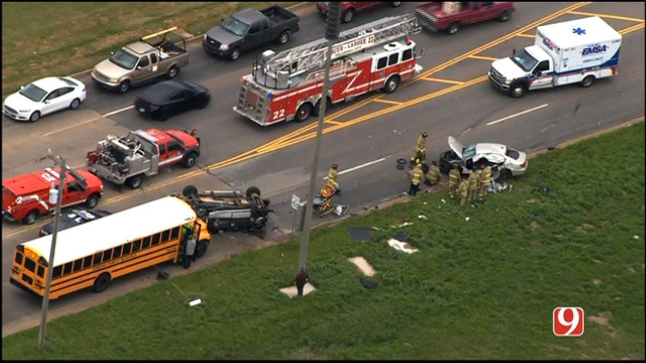 3 Critical After 4-Vehicle Crash, Including Edmond School Bus, In NW OKC