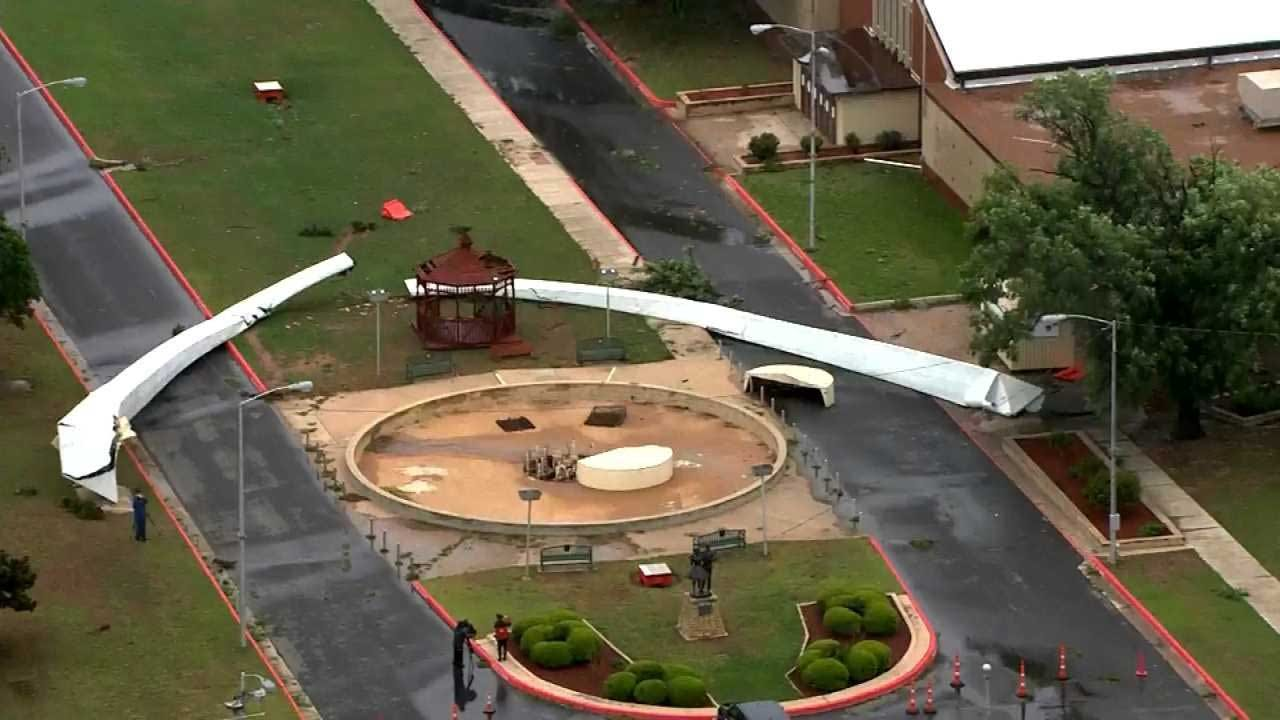 High Winds Cause Damage And Bring Down Arch At State Fairgrounds