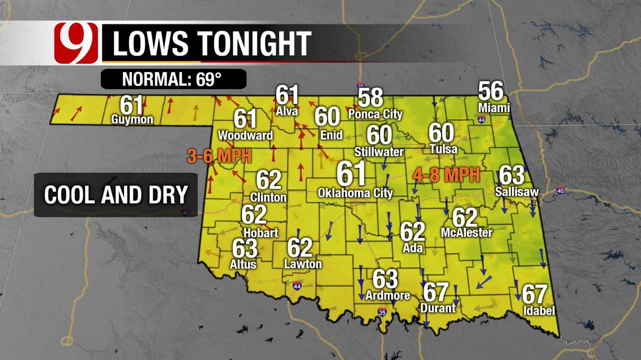 Oklahoma Skies Stay Mostly Clear Thursday Evening