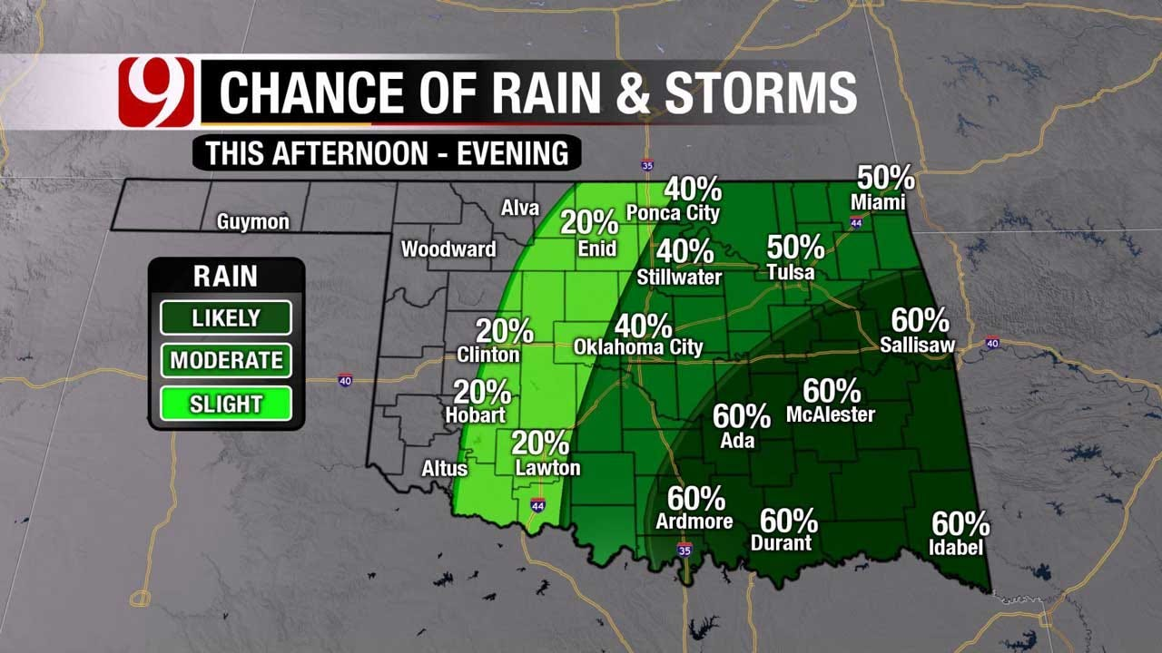 Showers, Strong To Severe Storms Possible Throughout Sunday In OK