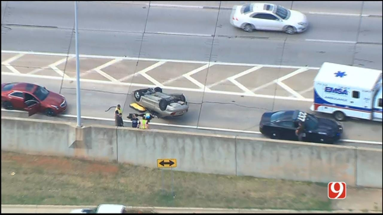 Crews Respond To Rollover Crash On EB I-44, Near N. May Ave.