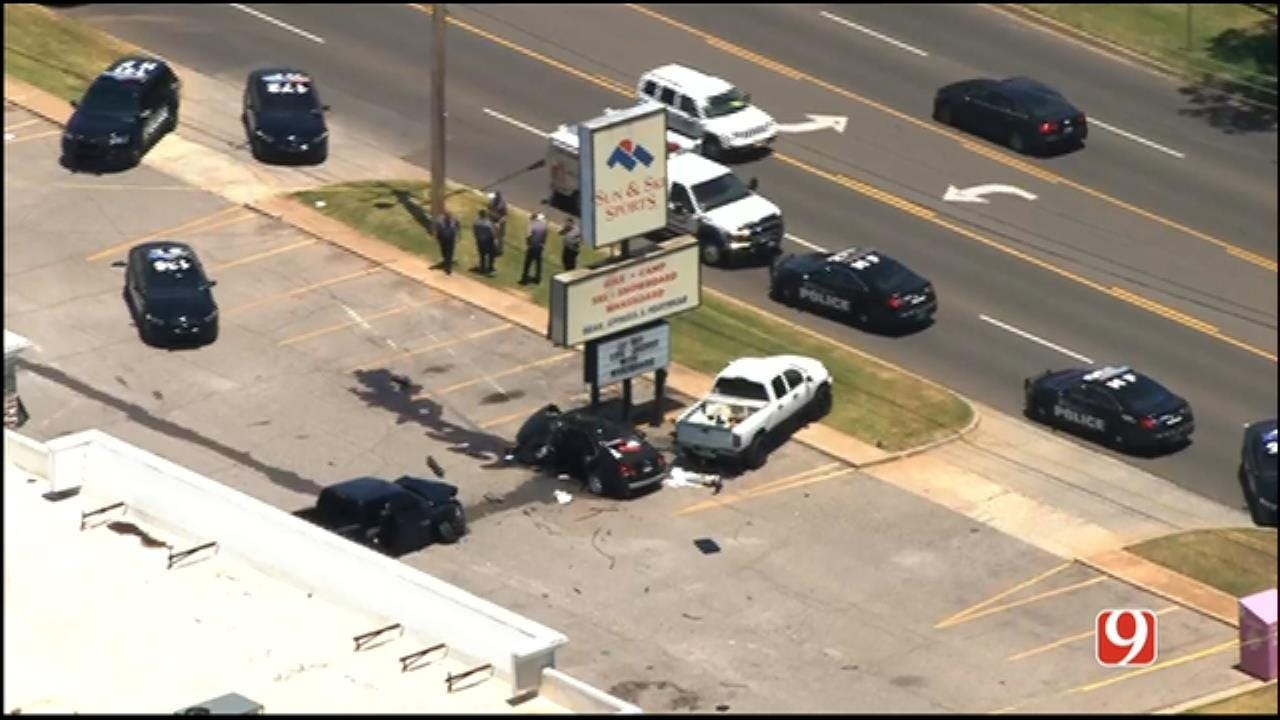 Bank Robbery Suspect In Custody Following Chase, Crash In NW OKC