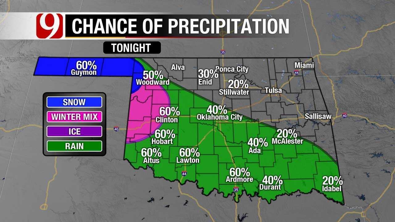 Winter Precipitation Moving Into The State Tuesday Night