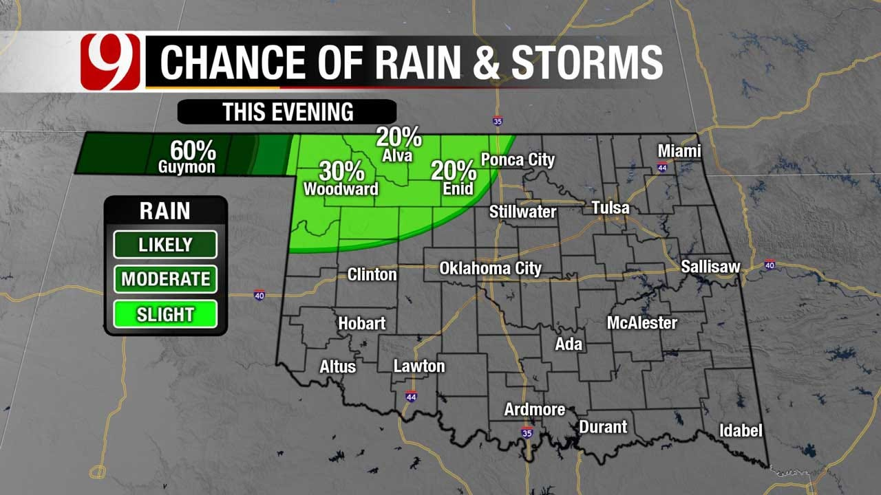 Showers Moving Into NW, Central OK Friday Evening And Overnight