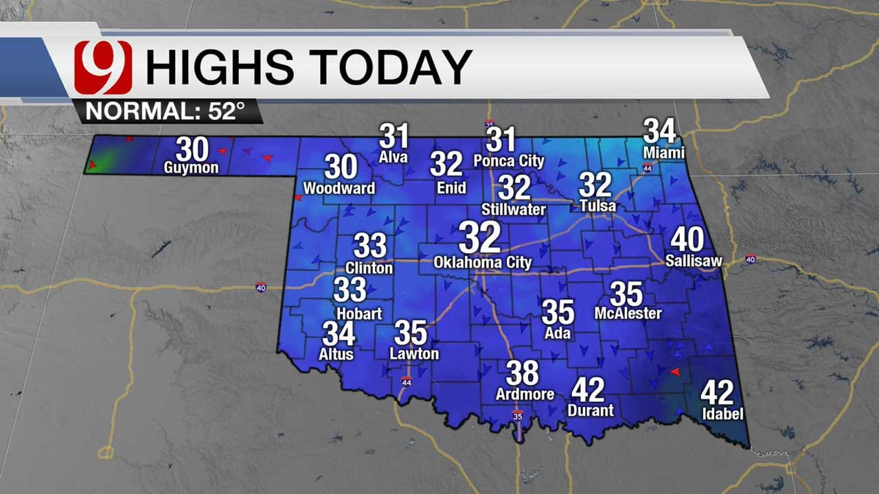 Another Cold Day For OKC Metro, Freezing Rain Possible In SE OK