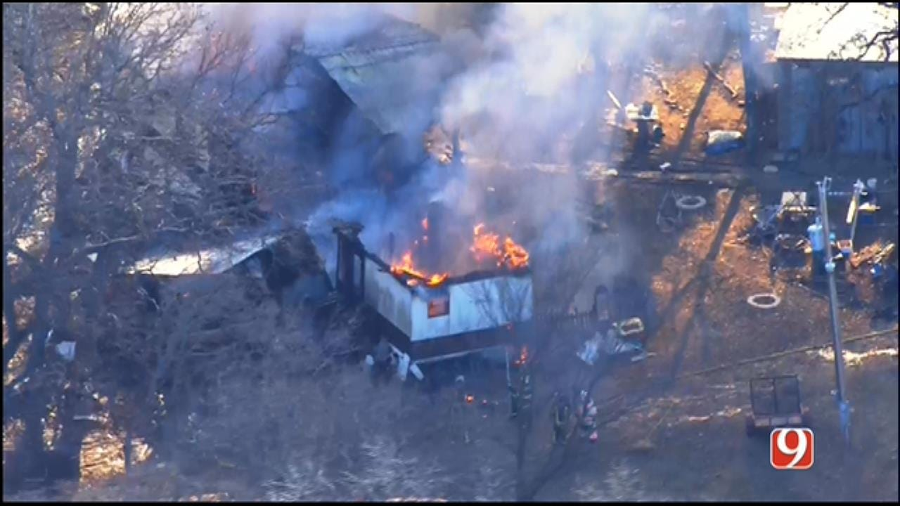 Fire Consumes Trailer Home Southwest Of Guthrie