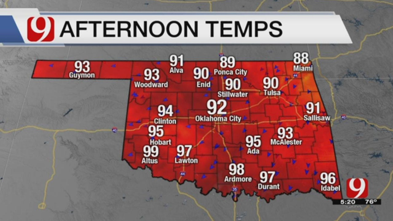 Mostly Dry Start To The Week, With Seasonal Temps In The Low 90's