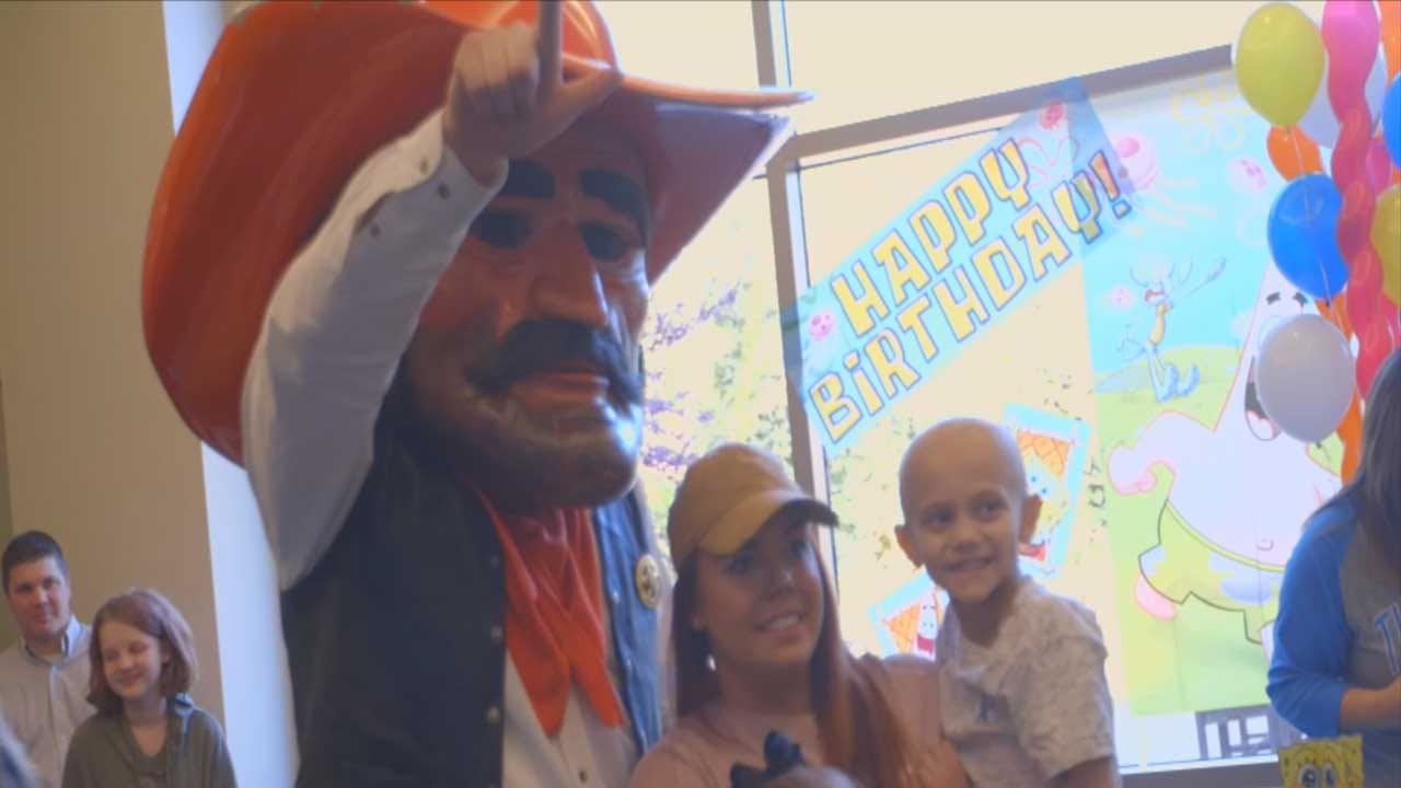 Pistol Pete Surprises Young Cancer Patient Celebrating Milestone On His Birthday