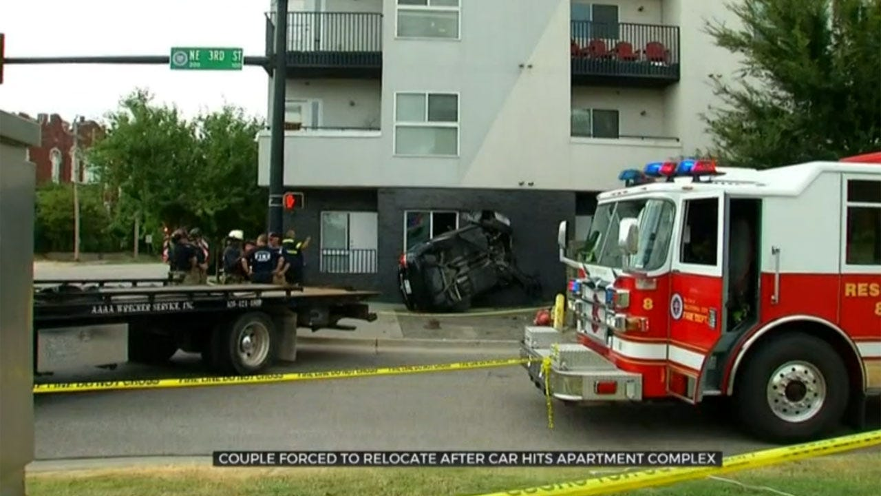 Couple Forced To Relocate After Car Hits Their Downtown OKC Apartment Complex