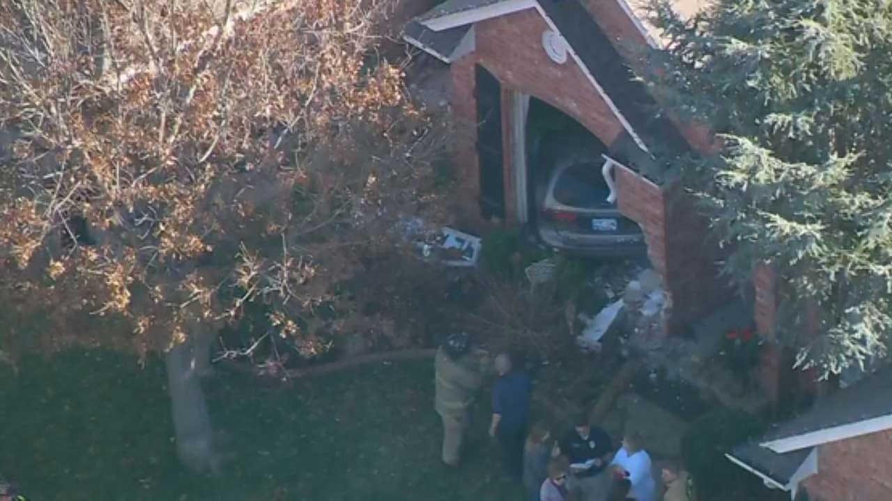 Emergency Crews Respond After Car Crashes Into NW OKC Home