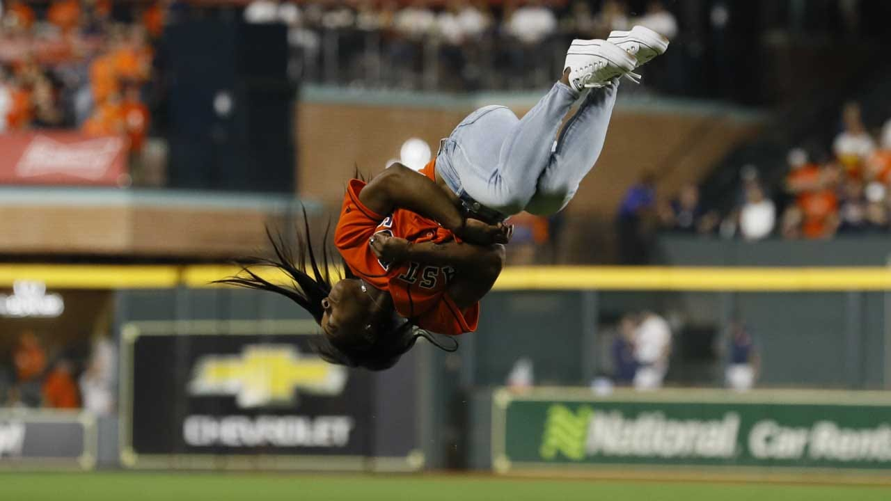 Simone Biles Back Flips Before Throwing First Pitch In World Series Game 2