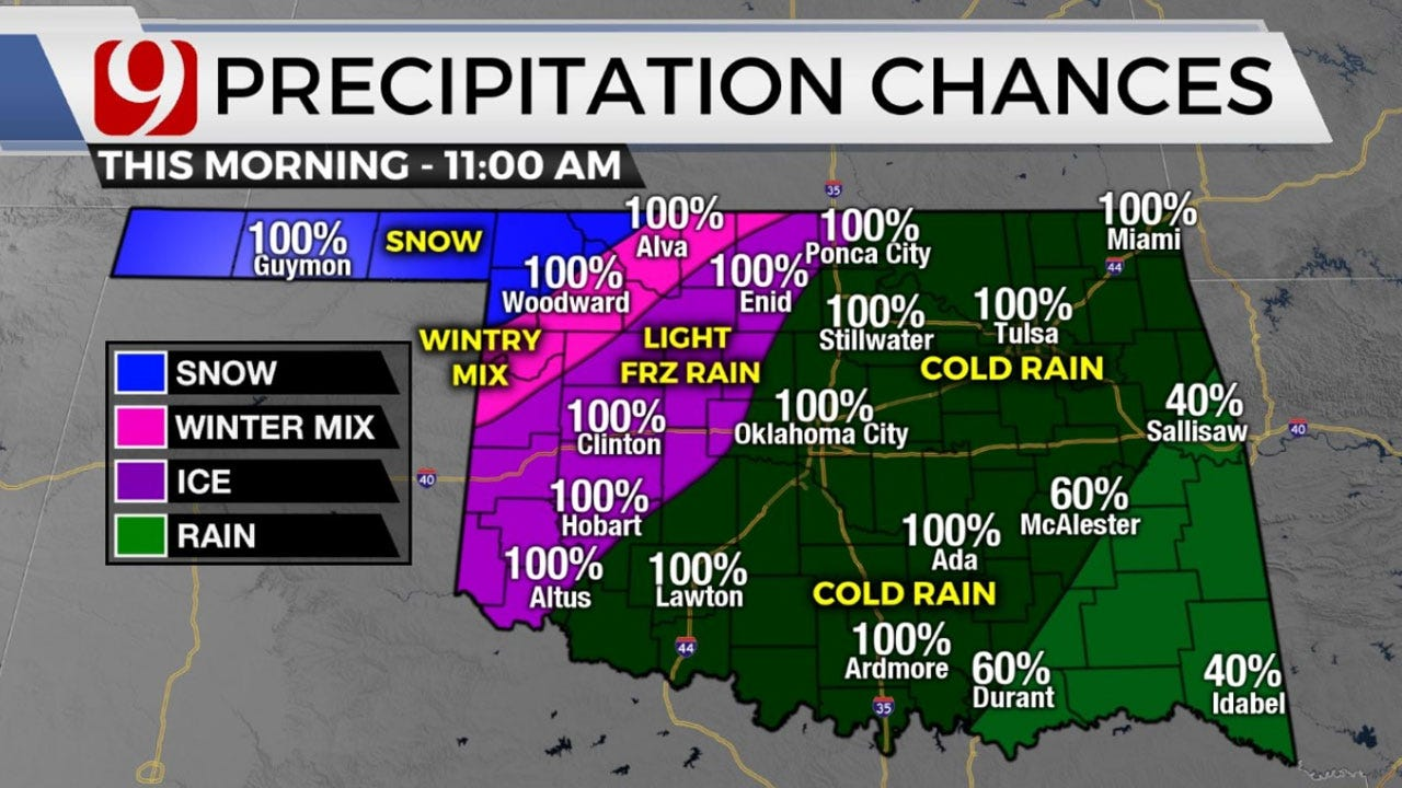 Okla. To See Record Low Temps, Wintry Precipitation Wednesday