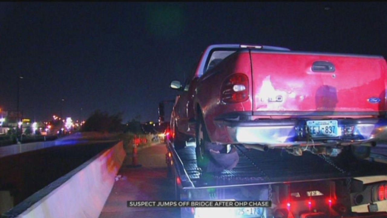 OHP Pursuit Ends In OKC After Suspect Jumps Off Bridge