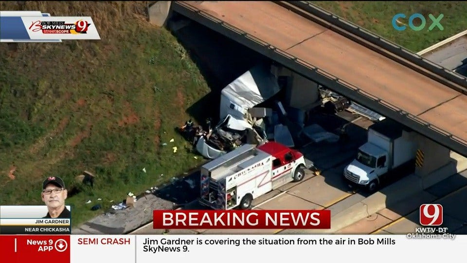 Wreck Involving A Tractor-Trailer Reported On I-44 Near Chickasha