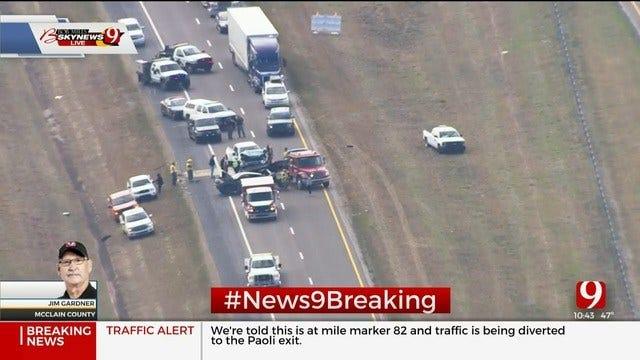 Fatality Crash Reported On NB I-35 Near Paoli In McClain Co.